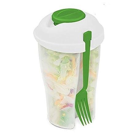 Ensaladera de plástico con tapa. Fiambrera ideal para el trabajo. Ensalada no pierde sus propiedades. Incluye recipiente para salsas.