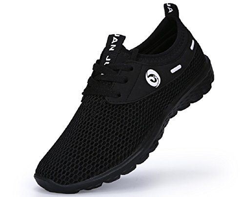 JUAN Men's Lightweight Slip On Fashion Mesh Sneakers Breathable Running Shoes Athletic Outdoor Casual Sport Shoes (46 M EU/12 D(M) US, Black) by JUAN