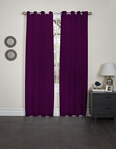 Kashi Home Holly Collection Window Treatment / Curtain / Sheer Faux Silk with Grommet Top 57″ X 90″, Plum