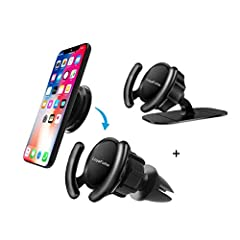What you can get(4 Pack):  1 x Car Phone Mounts (Air Vent) 1 x Car Phone Mounts(Dashboard Sticker) 1 x POP Mount 1 x 3M VHBFeatures: Durable quality: Its high density, low weight, small size, strong grip and reliable quality ensure tha...