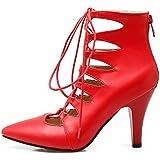 Sandales Femmes Creux a souligné l'attache Avant Grande Taille Slim High Heel,Black,41