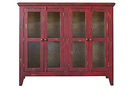 7d7f3b250391 Image Unavailable. Image not available for. Color: Crafters and Weavers  Bayshore Distressed Red Currant Finish Solid Wood 4-Door Sideboard China  Cabinet