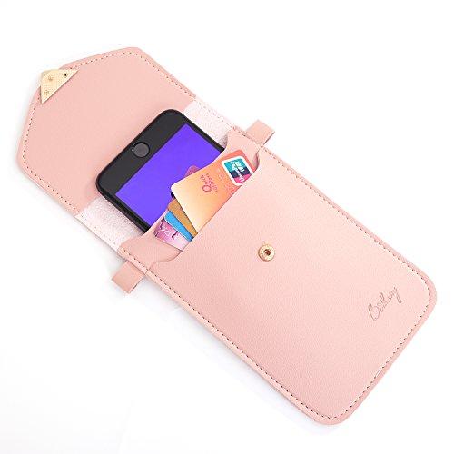 Vandot Universal Mini Umhängetasche (18x12x2cm) mit Einstellbar Langem Riemen (130cm) geeignet für grosse Smartphones [Handys Unter 5.5 Zoll] wie iPhone X / iPhone 8 Plus / 7 Plus / 7 8 6 6S 5 5S SE,  Touchscreen-Dunkelrosa