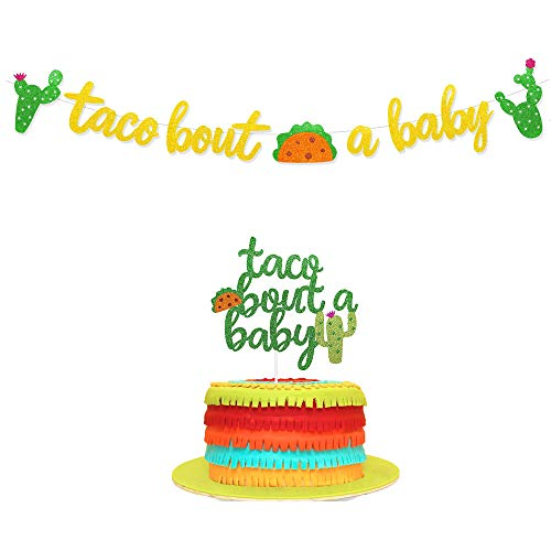 Taco Bout A Baby Gold Glitter Banner Sign Garland & Green Glitter Cactus Cacti Cake Topper Kit for Mexican Fiesta Themed Party Supplies Baby Shower Decorations