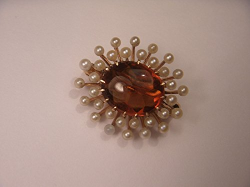 Antique 14K Rose Gold Cabochon Orange Citrine Seed Pearl Handmade Brooch Pin by GEMSforyou