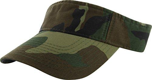 DealStock Plain Men Women Sport Sun Visor One Size Adjustable Cap (29+ Colors) (Woodland Camo) ()
