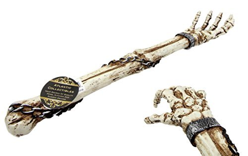 Atlantic Collectibles Creepy Ossuary Shackled Skeleton Hand Back Scratcher Figurine 15.25''L