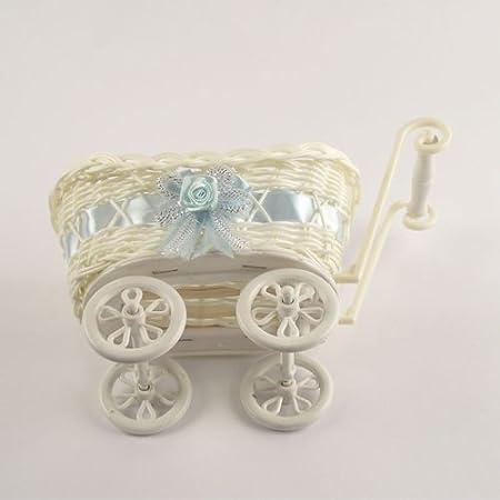 Blue, 4x Mini Booties SMALL or LARGE Baby Pram Hamper Wicker Basket