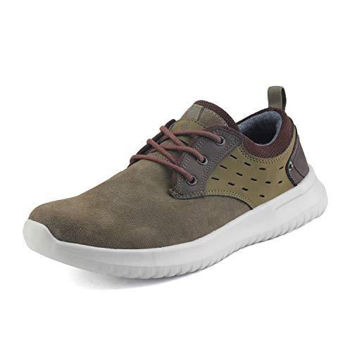 Bruno Marc Men's Walking Shoes Suede Fashion Sneakers Walk-Lite-01 Grey Brown Navy Size 7 M US