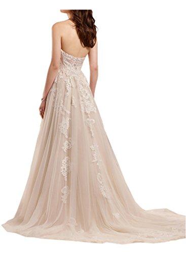 Marie Braut Brautkleider Weiss Traegerlos Brautmode La Rock Hochzeitskleider Spitze A Lang Wassermelon Linie Romantisch a6dFBBgq