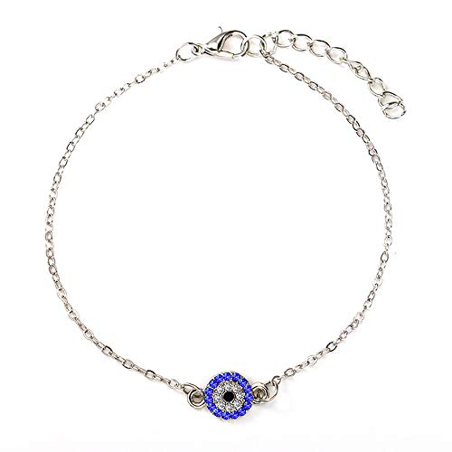 Blue Turkey Evil Eye Bracelet Anklet for Women Lucky Crystal Eyes Bangle Foot Chain Jewelry (Silver)