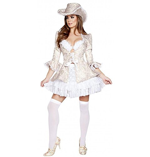 Roma Costume Women's 4 Piece Marie Antoinette, White/Pink, Large