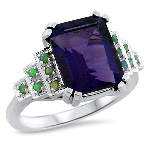 LAB Amethyst Opal 925 Sterling Silver Antique Art Deco Style Ring SZ 6.5 KN-4565 from VELEZO