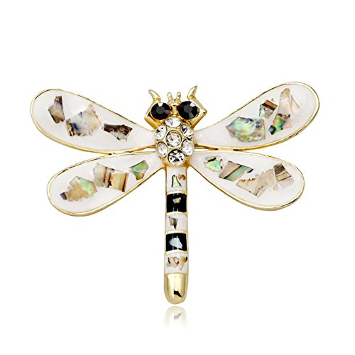 ptk12 Animal Shell Crystal Dragonfly Brooches For Women Cute Insect Brooch Pins Dress Accessories by ptk12