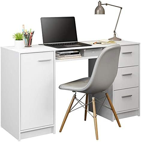 MADESA Modern Compact Home Office Computer Writing Desk White