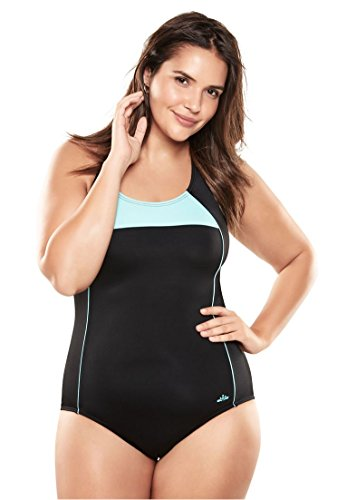 Cup Maillot (Woman Within Women's Plus Size Cross Back Maillot Swimsuit Seafoam Border,22)