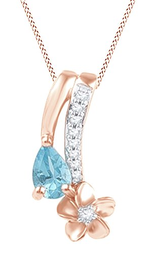 Diamond Flower Drop Necklace - Jewel Zone US Simulated Blue Topaz & Natural Diamond Flower Drop Pendant Necklace in 14k Rose Gold Over Sterling Silver