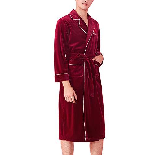 Y Vestido Señoras Suave Con Pijamas Baño Cálido Lujo Bolsillos Para Traje De Lleva Red Terciopelo Mujer Albornoz Cinturón Cómodo Las Camisón men Del Olliuge q8Rxtt