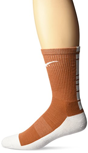 College Edition NCAA (TEAM) Men's Made in the USA Polytek Champ Performance Crew Socks with Wicking Material and Extra Cushion,Orange/White,Mens Large 10-13