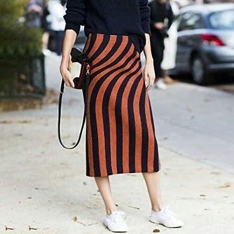 DQHXGSKS Faldas de Lana a Rayas Irregulares Mujer Cintura Alta ...