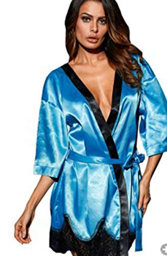 Teddy Babydoll Lingerie, Women Satin Silk Sleepwear Nightwear Dress Clothing Women Lady Nightgrown Long Kimono Robe Blue XXL