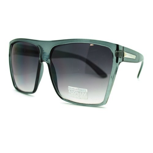 (Large Oversized Retro Fashion Square Flat Top Sunglasses (Gray) )