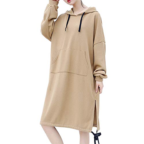 Connia Women Hoodie Sweatshirt Dress, Fall Necessary Knee-Length Pocket Loose Casual Sport Coat Pullover (XL, Khaki) from Connia