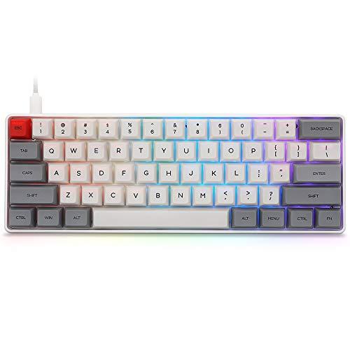 YUNZII SK61 Grey Wired 60% Keys NKRO Gateron Optical Switch RGB Backlight Programmable Mechanical Gaming Keyboard (Gateron Red Switch, Grey 61 Keys)