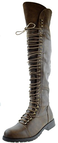 SHOEDEZIGNS Travis 05 Women Military Lace Up Thigh High Combat Boot Mocha Brown ()