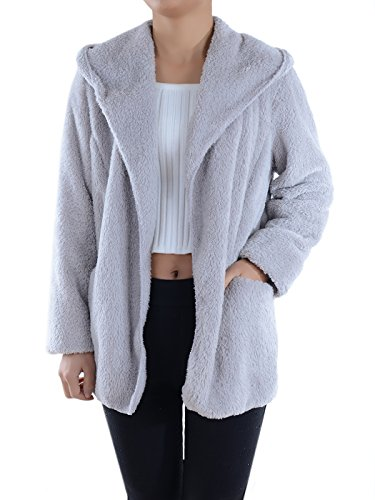Anna-Kaci Lounge & Chill Hooded Fluffy Fleece Comfy Soft Teddy Coat Jacket, Grey, Large/X-Large