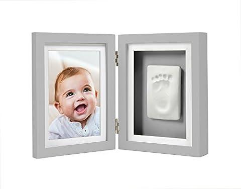Pearhead Babyprints Newborn Baby Handprint and Footprint Desk Photo Frame & Impression Kit, Gray (Imprint Baby)