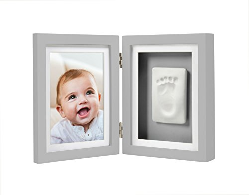 Pearhead Babyprints Newborn Baby Handprint and Footprint Desk Photo Frame & Impression Kit, Gray (Frames Baby New Picture)