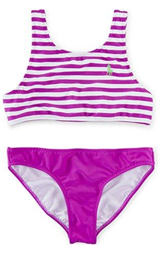 (Ralph Lauren Girls' Striped Top & Solid Bottom Two-Piece Swimsuit (16, PURPLE CACTUS)