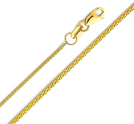 The World Jewelry Center 14k Yellow Gold Religious Miraculous Mary Medal Pendant with 0.9mm Braided Wheat Chain Necklace