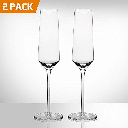 Bella Vino Crystal Champagne Flutes,Beautifully Designed Hand Blown Champagne Glasses -Made from 100% Lead Free Premium Quality Crystal Glass - Perfect for any Special Event or Champaign -Great Gift