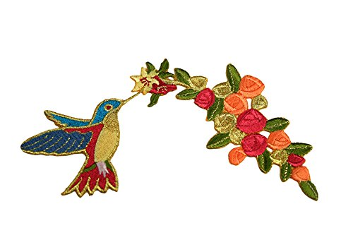 Altotux Gold Flower Hummingbird Self Adhesive Iron On Applique Sticker ()