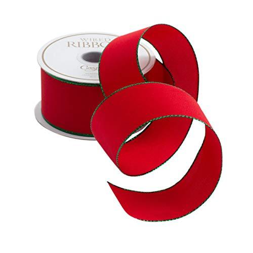 Caspari Red & Green Trim Wired Ribbon – 24 Foot Spool