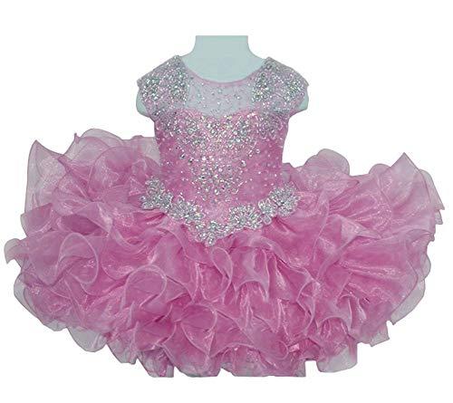 HuaiLian Baby Girls Sheer Neck Crystal Infant Mini Cupcake Pageant Skirt Dresses 3T Pink ()