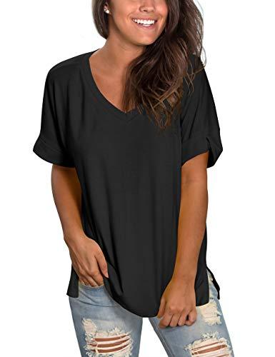 liher Women's Short Sleeve V-Neck Shirts Loose Casual Tee Shirt Tops
