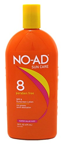 Suntan Self Tanning Water (NO-AD Protective Tanning Lotion, SPF 8 16 oz (Pack of 3))