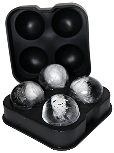 Compact Glass Ball - FROST BALLZ - #1 Whiskey Ice Ball Mold - Makes 4 Ice Cube Spheres in 1 Tray - Unique Round Ice Maker for Scotch, Bourbon, Whisky, Cocktails, Mixed Drinks and Sipping on the Rocks - Balls are 1.77