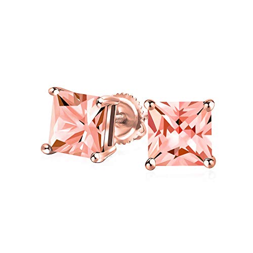 1CT Pink CZ Princess Cut Stud Earrings Simulated Morganite Cubic Zirconia Rose Gold Plated Sterling Silver Screw Back