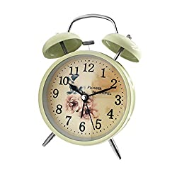 Loud Alarm Clock Hippih 4 Non-ticking Quartz Analog Vintage Desk Clock with Backlight and Battery Operated for Heavy Sleepers, Kids Bedroom(Rose White)
