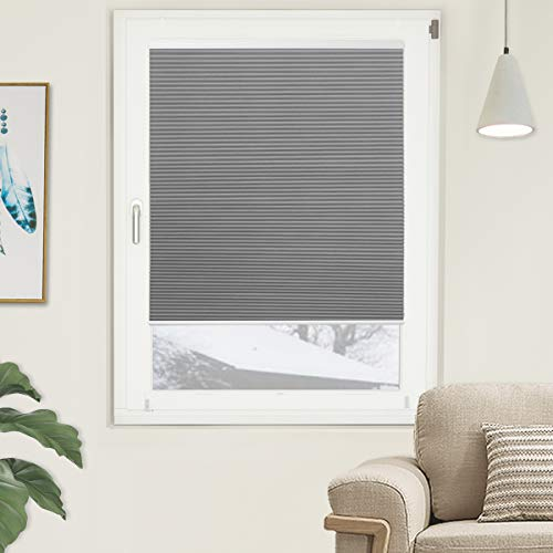 Window Blackout Blinds Room Darkening Shade Cellular Shades for Bedroom, Black Out 99% Light & UV, Thermal, Cordless and Easy to Pull Down & Up, 29 inch x 64 inch Drop, Gray White