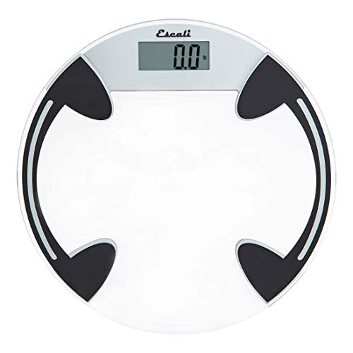 Escali B180RC Classic Glass Bathroom Body Scale, LCD Digital Display, 400lb Capacity, Clear