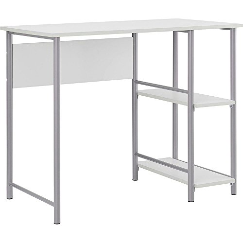 Student Desk with Side Bookself Writing Training Table Laminated Work Space Metal Frame Spacious Computer Desktop Removable Storage Shelving Home Office Bedroom Furniture & eBook by BADA shop by RA