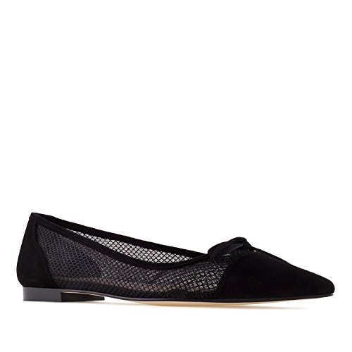 Celia.Andres Machado Suede Leather&Mesh Ballet Flats.Made In Spain.Womens Large Sizes:US 10.5-13 Black Suede & Mesh