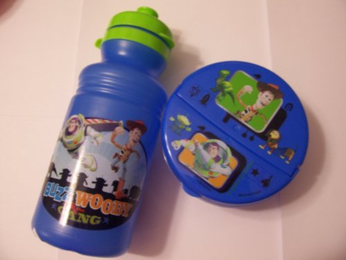 Disney Toy Story 2 Piece Snack Set ~ Sports Bottle, Snack Container (Blue with Woody, Buzz, Alien, (Kidz Rex)