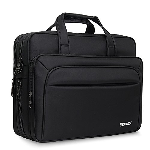 Expandable Laptop Computer Briefcase (Kopack Large Laptop Briefcase 17 Inch Business Travel bag Expandable/Water Resistant Shoulder Bags Black)
