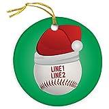 ChalkTalkSPORTS Personalized Baseball Porcelain Ornament | Santa Hat Christmas Ornament
